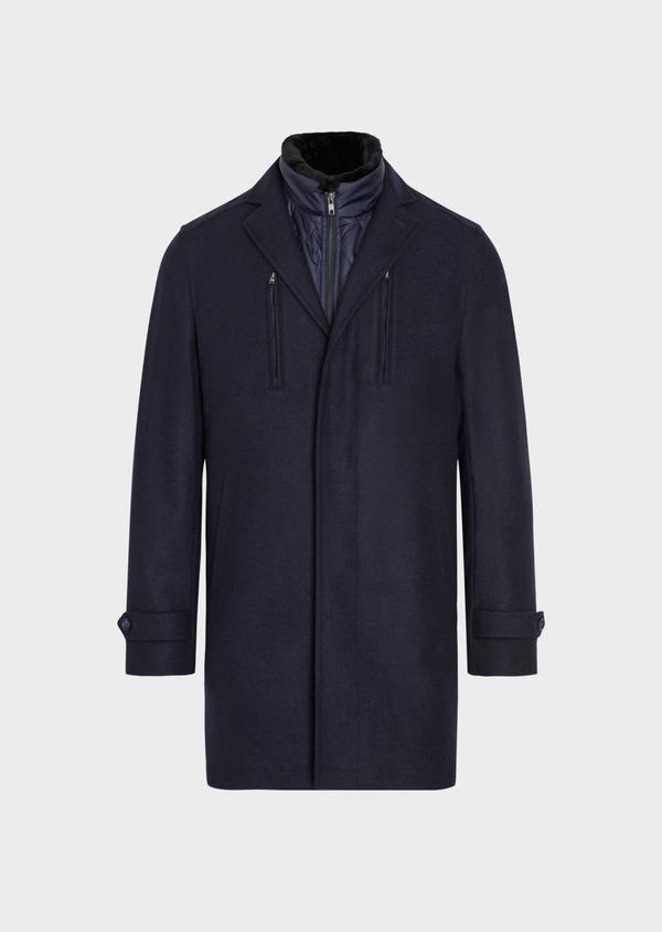 Manteau en laine mélangée à motif fantaisie bleu et doudoune amovible - Father and Sons 36729