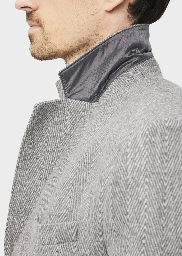 Manteau en laine mélangée à motif fantaisie gris - Father and Sons 36962