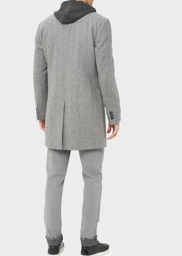 Manteau en laine mélangée à motif fantaisie gris - Father and Sons 36961