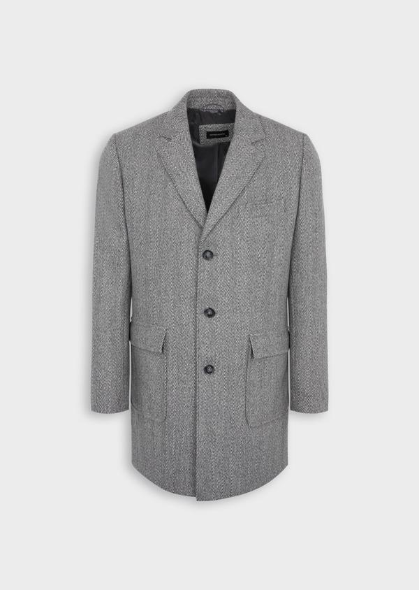 Manteau en laine mélangée à motif fantaisie gris - Father and Sons 36958