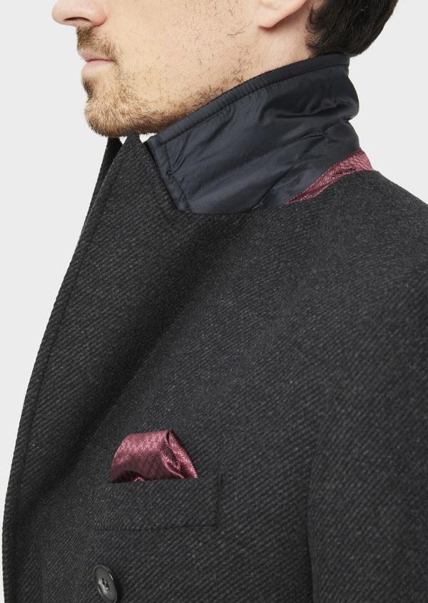 Manteau en laine mélangée à rayures gris anthracite - Father and Sons 36722