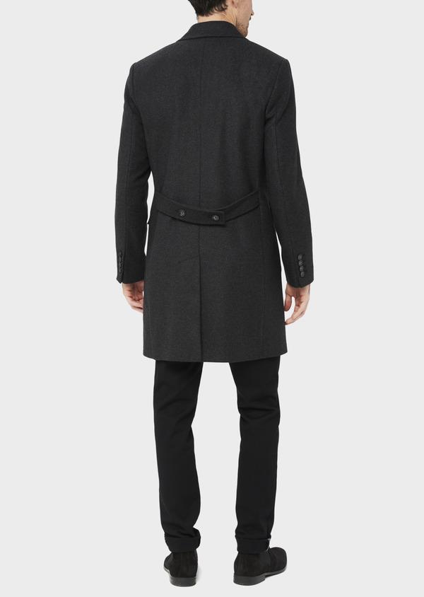 Manteau en laine mélangée à rayures gris anthracite - Father and Sons 36721