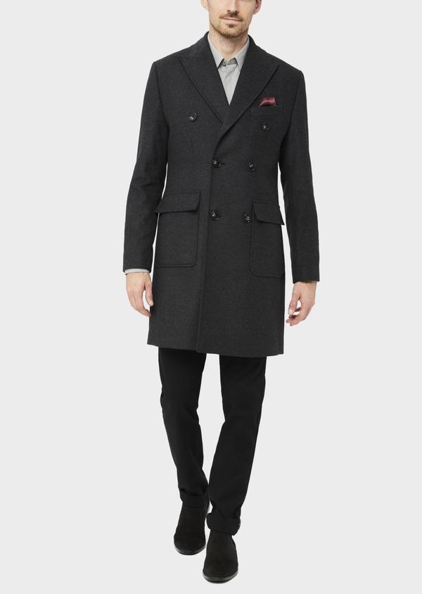 Manteau en laine mélangée à rayures gris anthracite - Father and Sons 36720