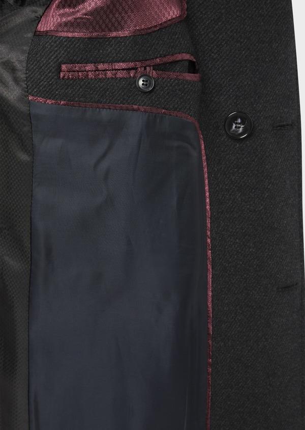 Manteau en laine mélangée à rayures gris anthracite - Father and Sons 36723