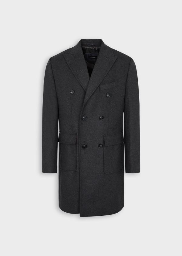 Manteau en laine mélangée à rayures gris anthracite - Father and Sons 36718