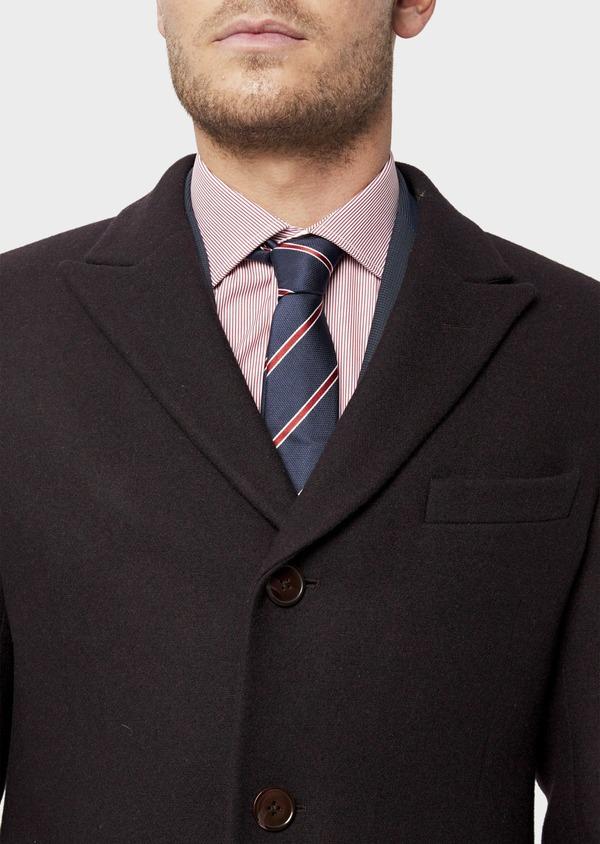 Manteau en laine mélangée unie bordeaux - Father and Sons 36355