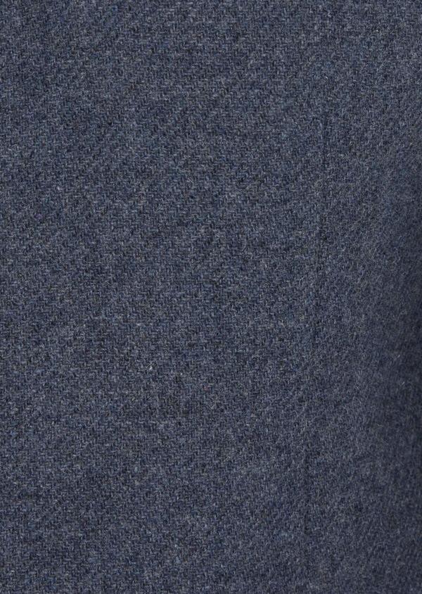 Manteau en laine mélangée unie bleu indigo - Father and Sons 36743