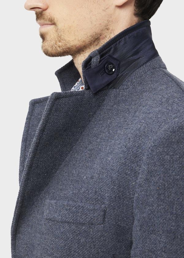 Manteau en laine mélangée unie bleu indigo - Father and Sons 36746