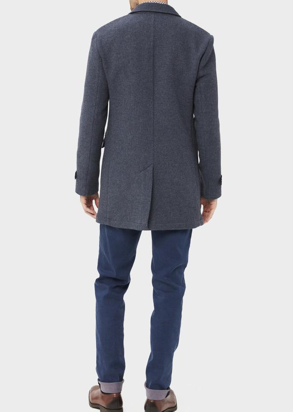 Manteau en laine mélangée unie bleu indigo - Father and Sons 36745