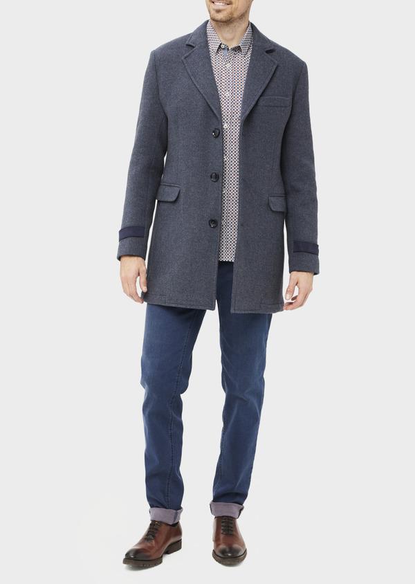 Manteau en laine mélangée unie bleu indigo - Father and Sons 36744