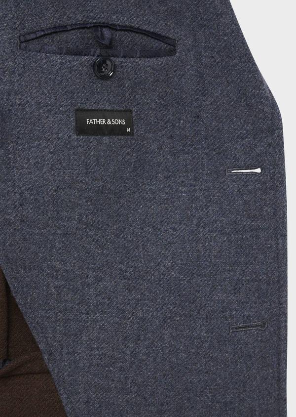 Manteau en laine mélangée unie bleu indigo - Father and Sons 36747
