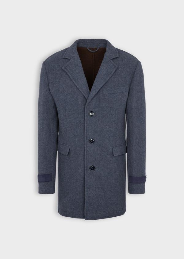 Manteau en laine mélangée unie bleu indigo - Father and Sons 36742