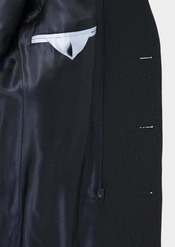 Manteau en laine mélangée unie bleu marine avec parementure amovible en suédine - Father and Sons 37189