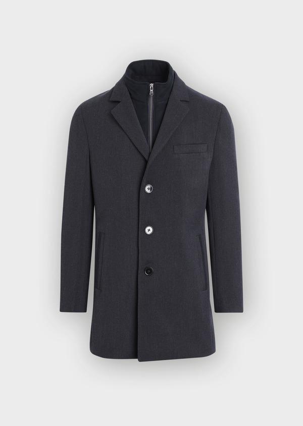 Manteau en laine mélangée unie bleu marine avec parementure amovible en suédine - Father and Sons 37184