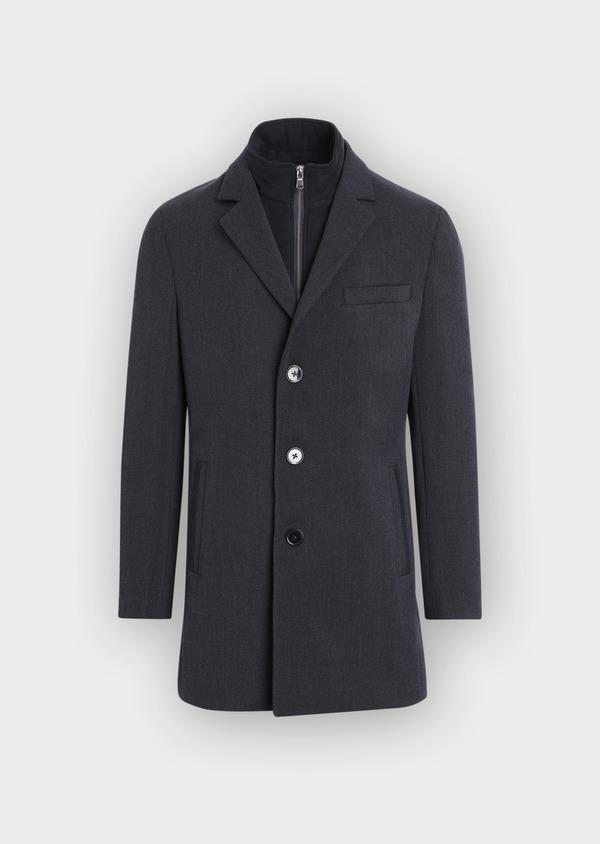 Manteau en laine mélangée unie bleu marine avec parementure amovible en suédine - Father and Sons 36898