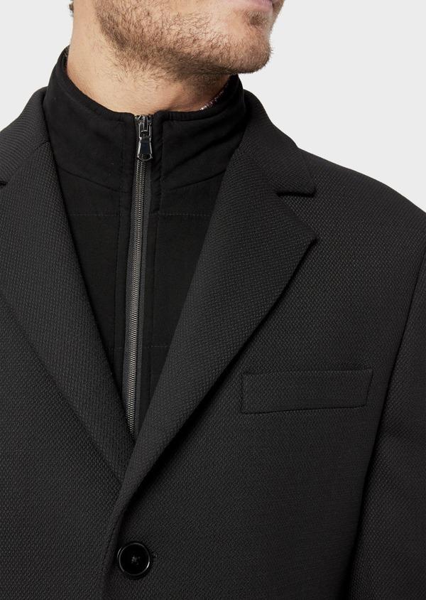 Manteau en laine mélangée unie noire avec parementure amovible en suédine - Father and Sons 36046