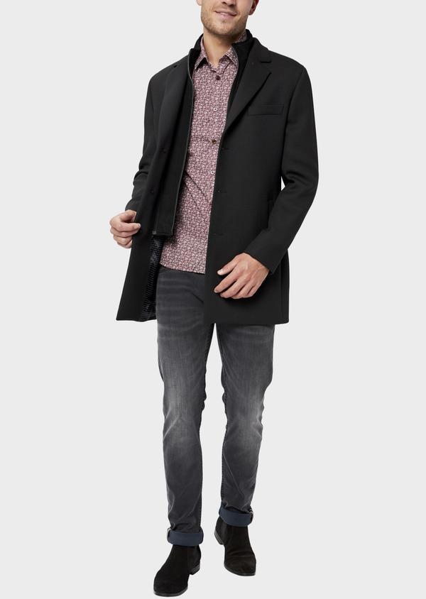 Manteau en laine mélangée unie noire avec parementure amovible en suédine - Father and Sons 36044