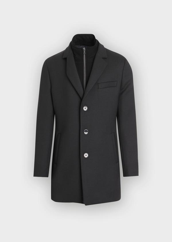 Manteau en laine mélangée unie noire avec parementure amovible en suédine - Father and Sons 36042