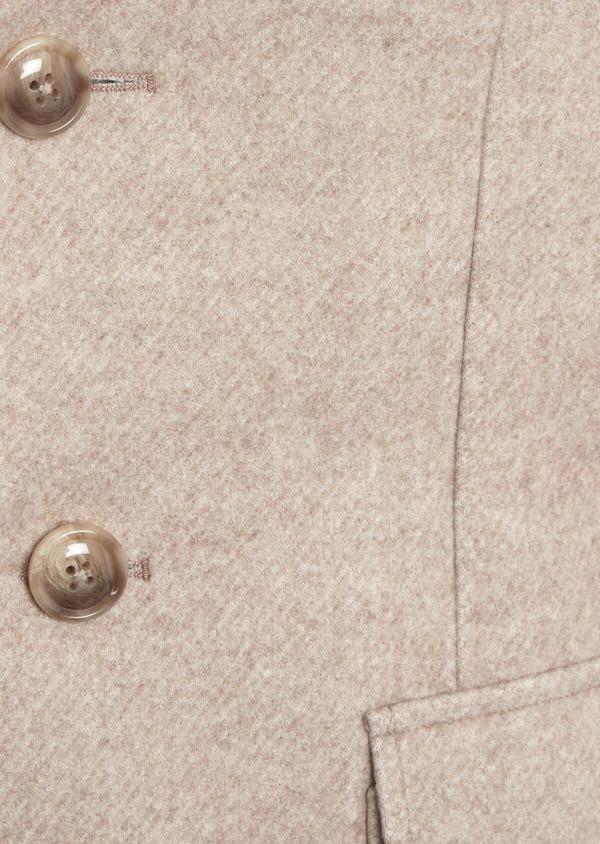 Manteau uni taupe avec parementure en suédine amovible - Father and Sons 36737