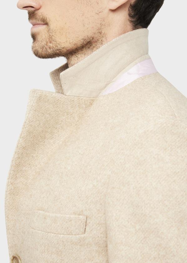 Manteau uni taupe avec parementure en suédine amovible - Father and Sons 36740