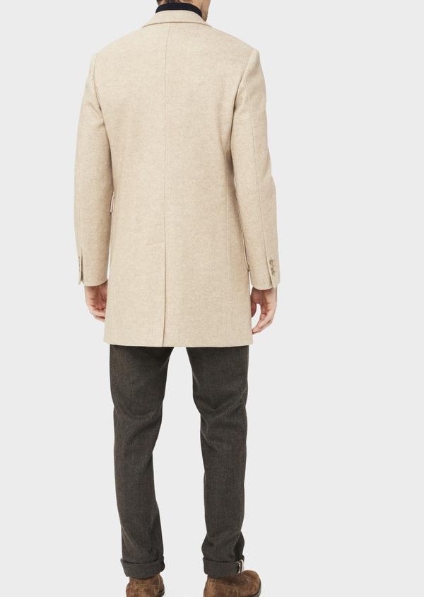 Manteau uni taupe avec parementure en suédine amovible - Father and Sons 36739