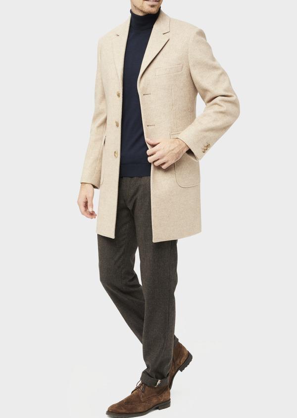 Manteau uni taupe avec parementure en suédine amovible - Father and Sons 36738