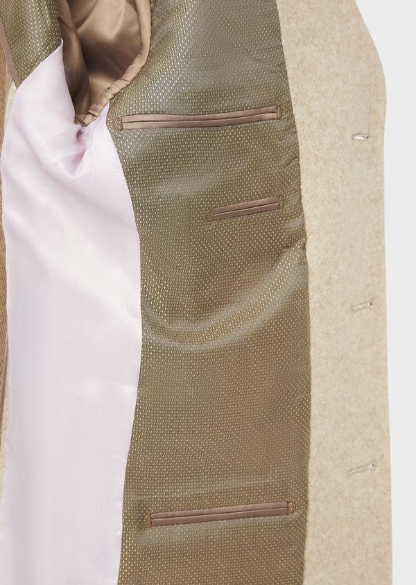 Manteau uni taupe avec parementure en suédine amovible - Father and Sons 36741