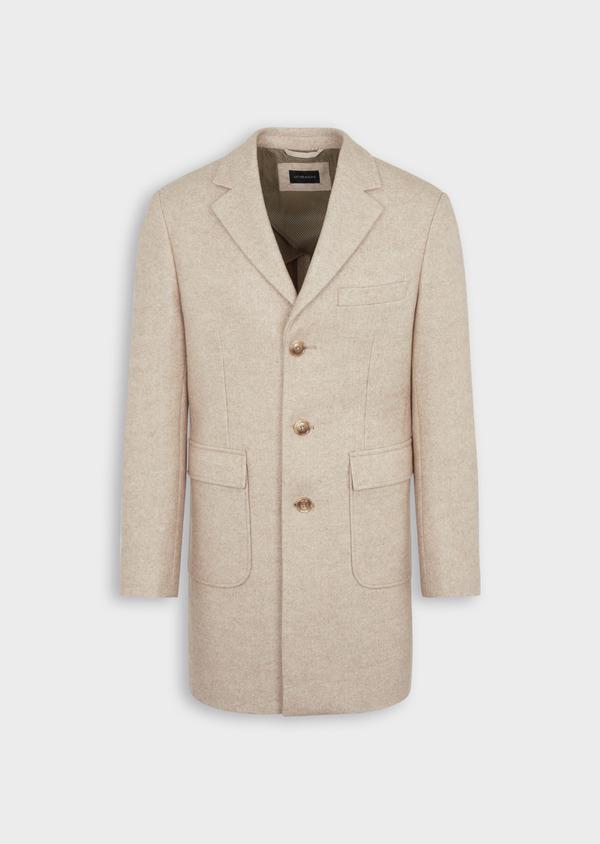 Manteau uni taupe avec parementure en suédine amovible - Father and Sons 36736