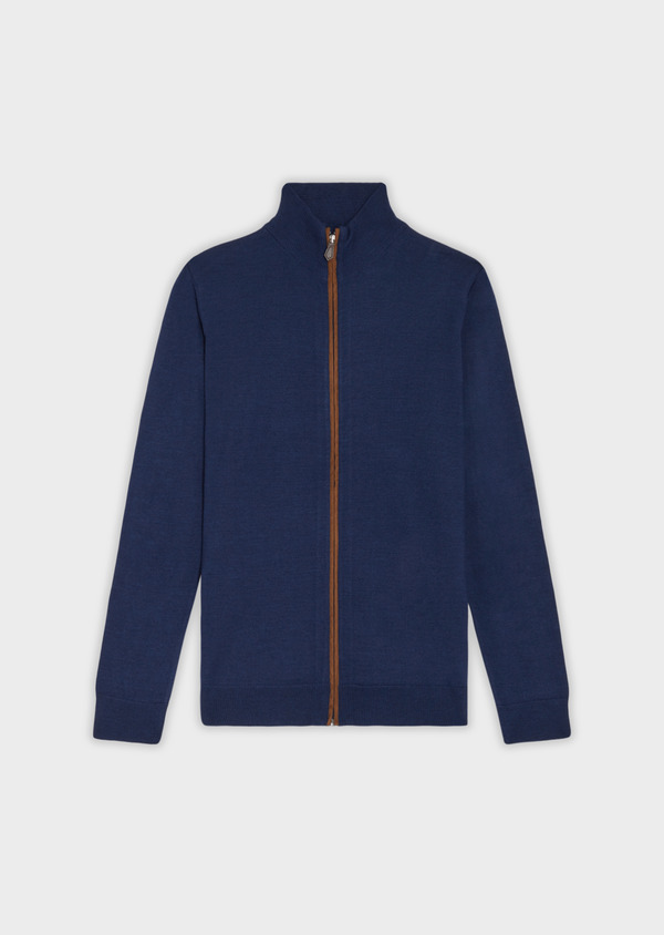 Gilet en laine Mérinos mélangée unie bleu indigo - Father and Sons 36556