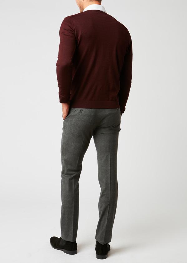 Cardigan en laine mérinos bordeaux à motifs fantaisie - Father and Sons 26870