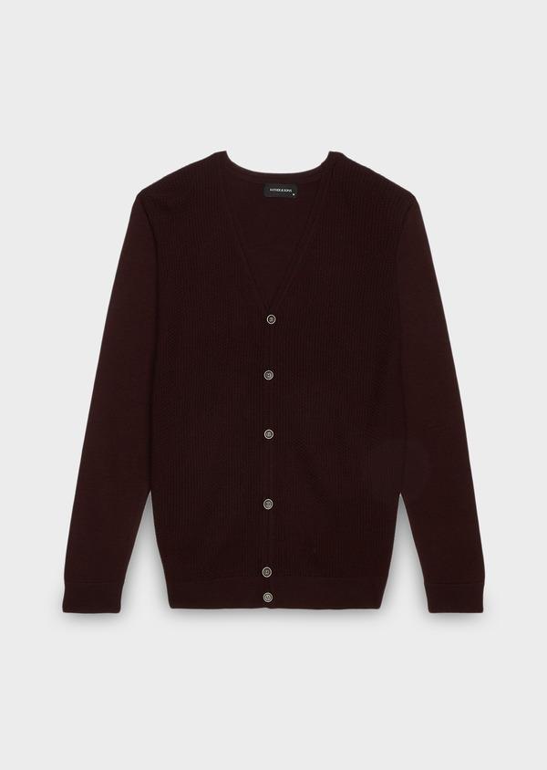 Cardigan en laine mérinos bordeaux à motifs fantaisie - Father and Sons 26868