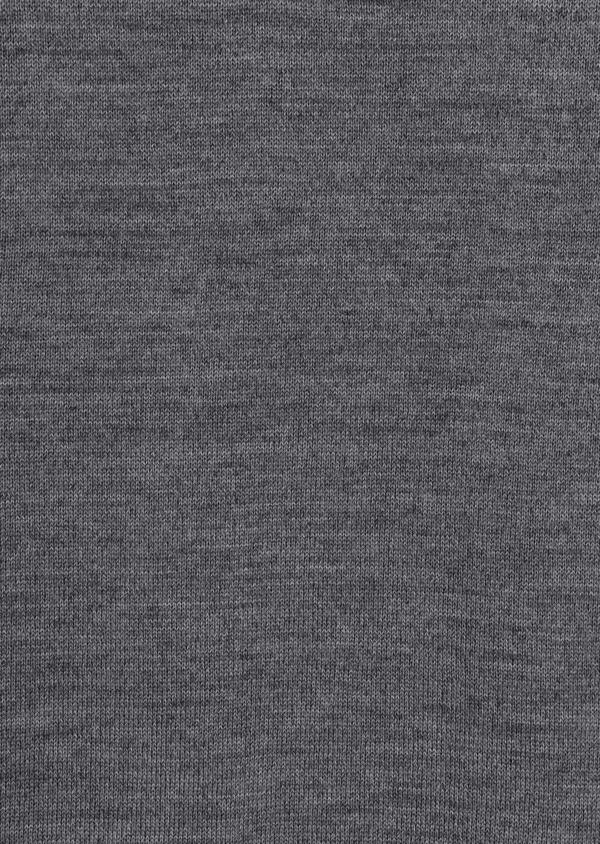 Pull en laine Mérinos mélangée col polo uni gris - Father and Sons 36100