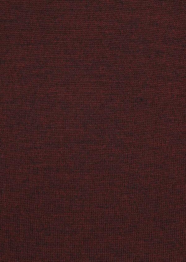Pull en laine Mérinos mélangée col roulé uni bordeaux - Father and Sons 36084