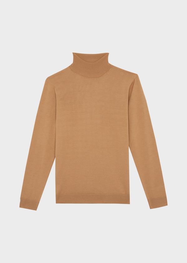 Pull en laine Mérinos mélangée col roulé uni camel - Father and Sons 37218