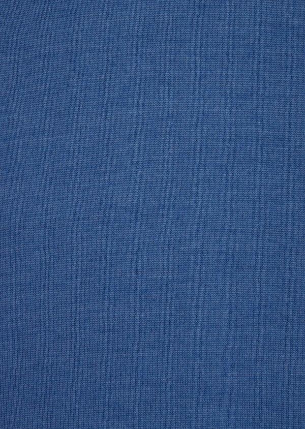 Pull en laine Mérinos mélangée col roulé uni bleu - Father and Sons 36380
