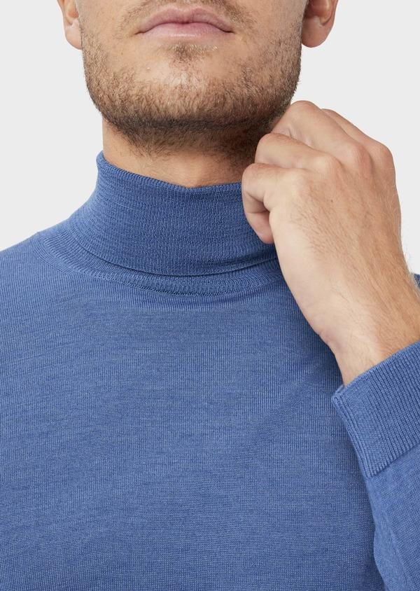Pull en laine Mérinos mélangée col roulé uni bleu - Father and Sons 36383