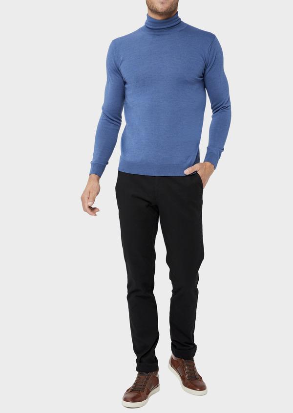 Pull en laine Mérinos mélangée col roulé uni bleu - Father and Sons 36381