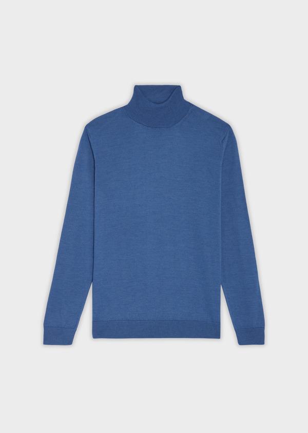 Pull en laine Mérinos mélangée col roulé uni bleu - Father and Sons 36379
