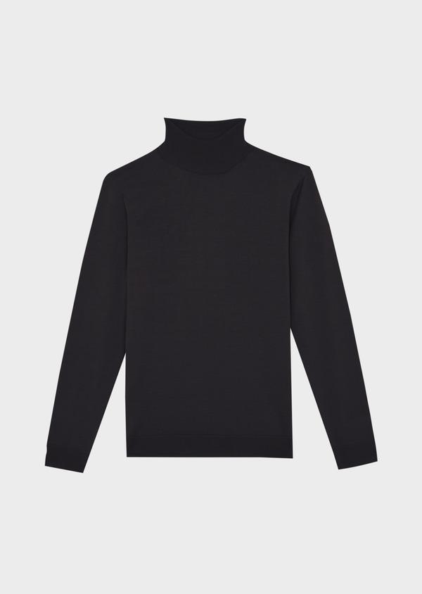 Pull en laine Mérinos mélangée col roulé uni gris anthracite - Father and Sons 37221
