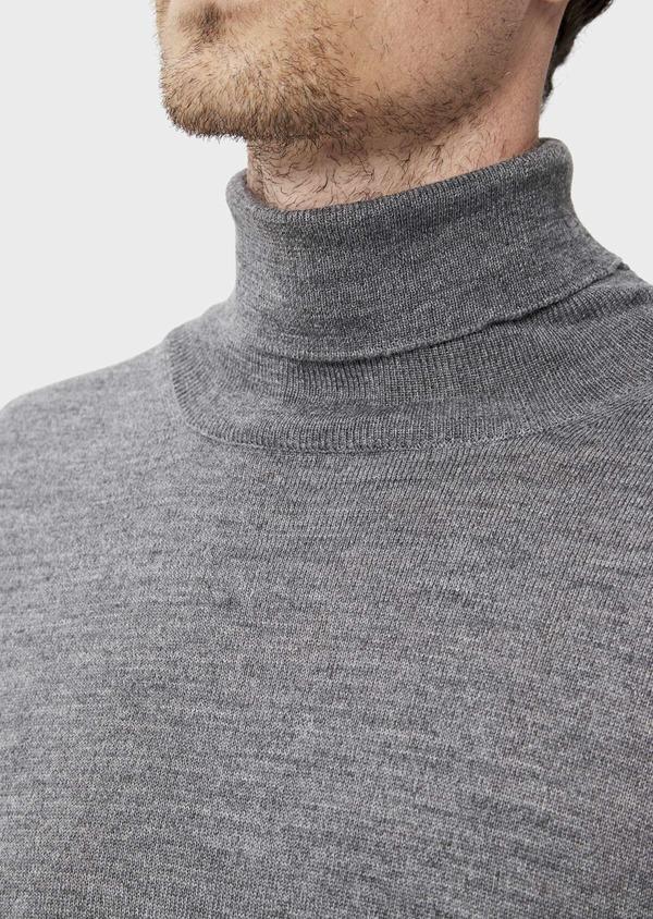 Pull en laine Mérinos mélangée col roulé uni gris - Father and Sons 35852