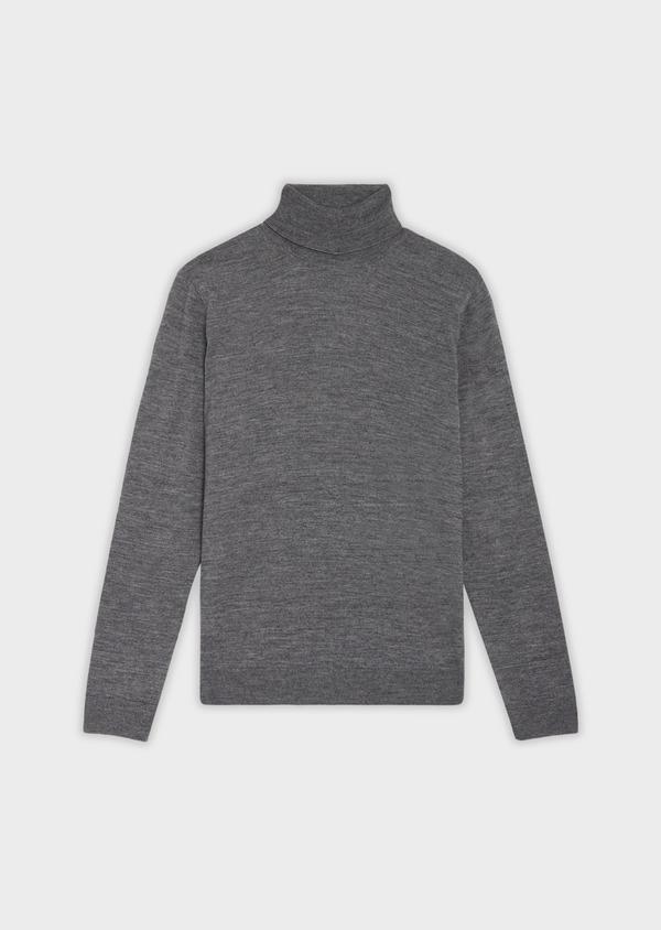 Pull en laine Mérinos mélangée col roulé uni gris - Father and Sons 35848