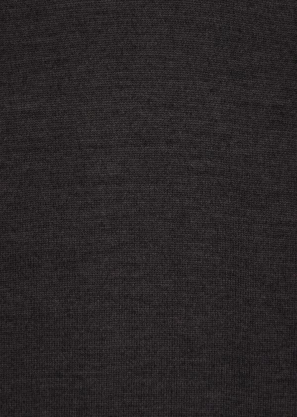 Pull en laine Mérinos mélangée col V uni gris anthracite - Father and Sons 36365