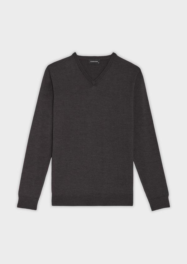 Pull en laine Mérinos mélangée col V uni gris anthracite - Father and Sons 36364