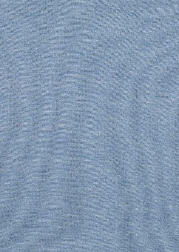 Pull en laine Mérinos mélangée col V uni bleu ciel - Father and Sons 35349