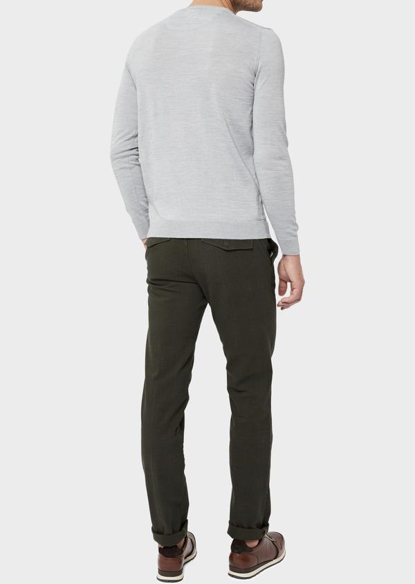 Pull en laine Mérinos mélangée col V uni gris clair - Father and Sons 36362