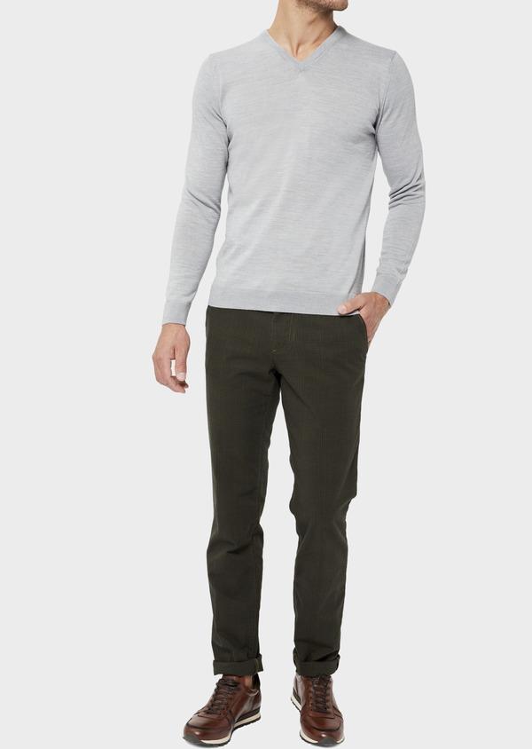 Pull en laine Mérinos mélangée col V uni gris clair - Father and Sons 36361
