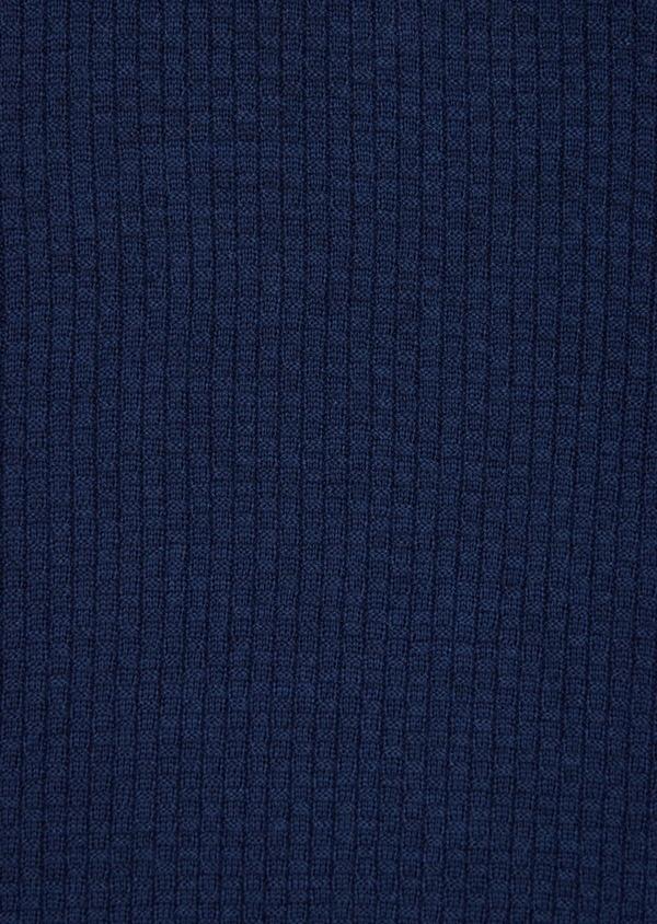 Pull en laine Mérinos mélangée col V uni bleu indigo - Father and Sons 36768