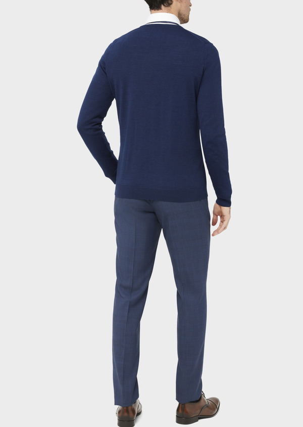 Pull en laine Mérinos mélangée col V uni bleu indigo - Father and Sons 36770