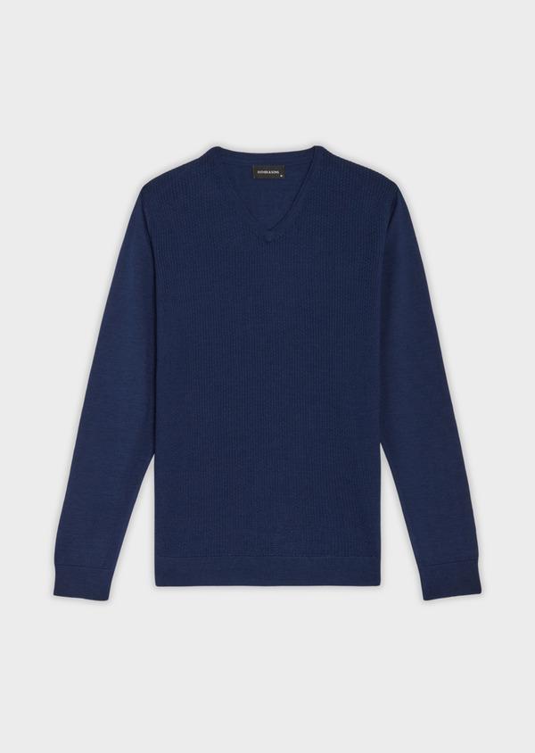 Pull en laine Mérinos mélangée col V uni bleu indigo - Father and Sons 36767
