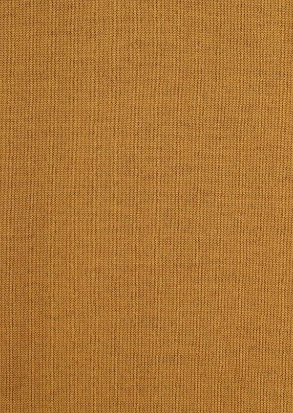 Pull en laine Mérinos mélangée col V uni jaune moutarde - Father and Sons 36507